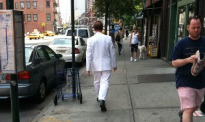 man in white suit